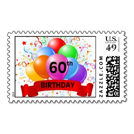 Birthday Gifts 60th Banner Balloons Postage Stamps