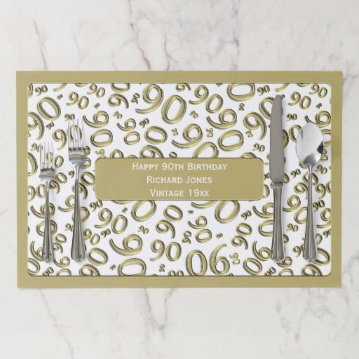 Birthday Gifts Ideas 90th Party Theme Gold White Pattern