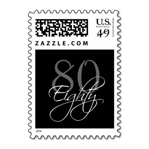 Birthday Gifts Ideas Black Grey White 80th Party Postage