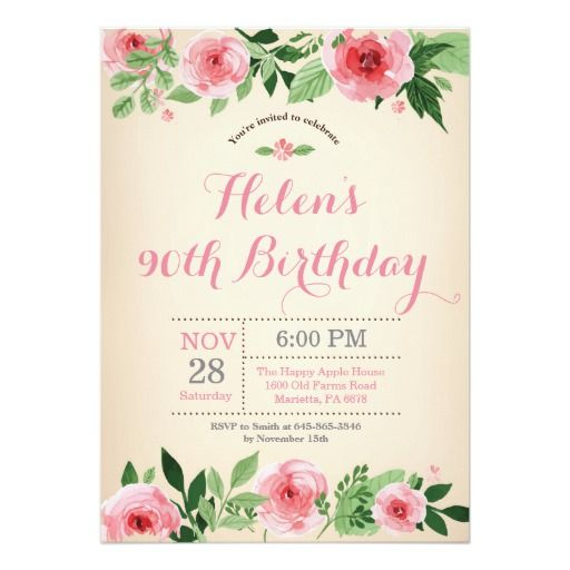Birthday Gifts Ideas Floral 90th Invitation Pink