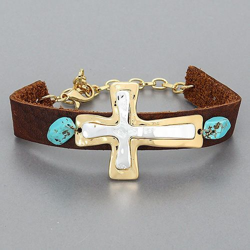 Birthday Gifts NEW Leather Gold Silver Layered Cross Turquoise
