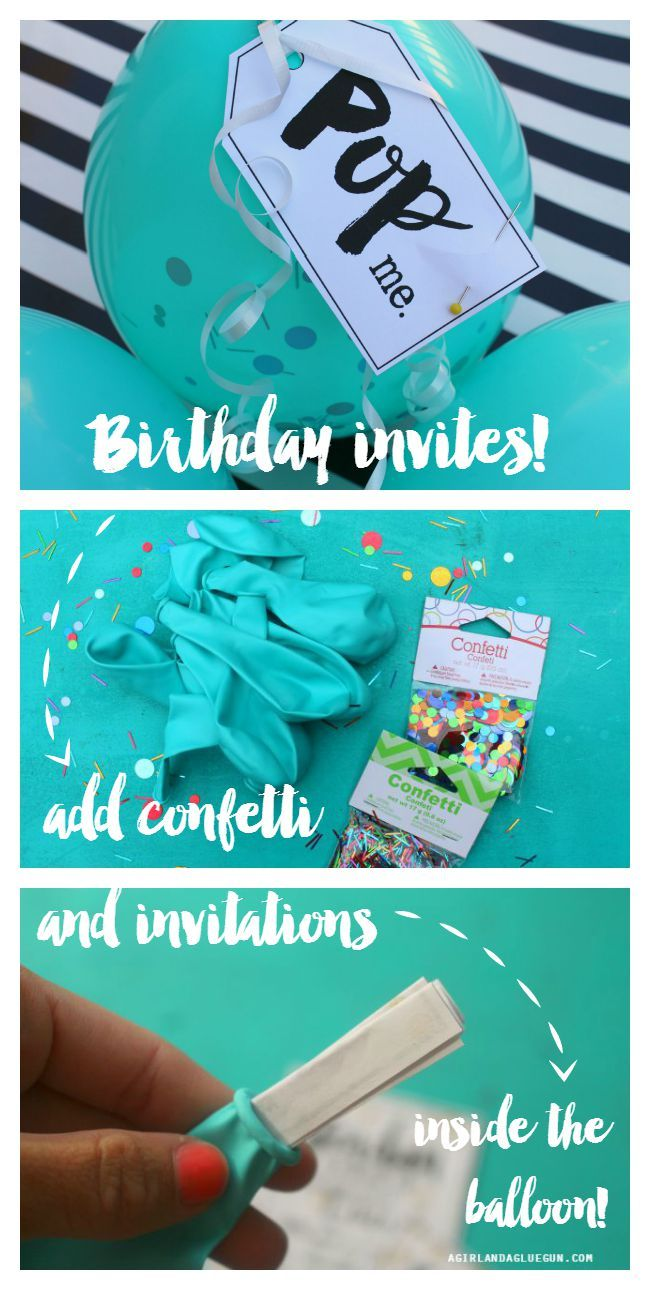 DIY Wrapping Gifts Inspiration Party Balloon Birthday Invitations