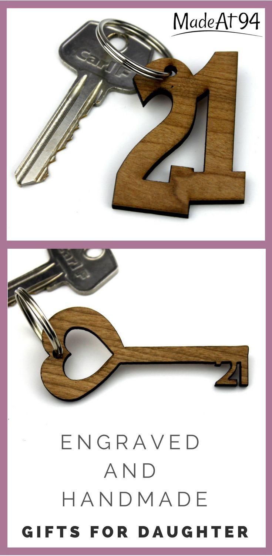 Birthday Gifts 21st Keychain Wooden 21 Girl
