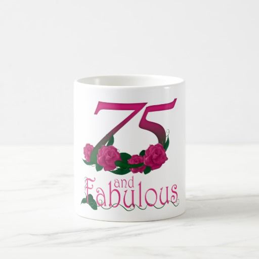 Birthday Gifts Ideas 75th 75 Pink Rose Flower Mug