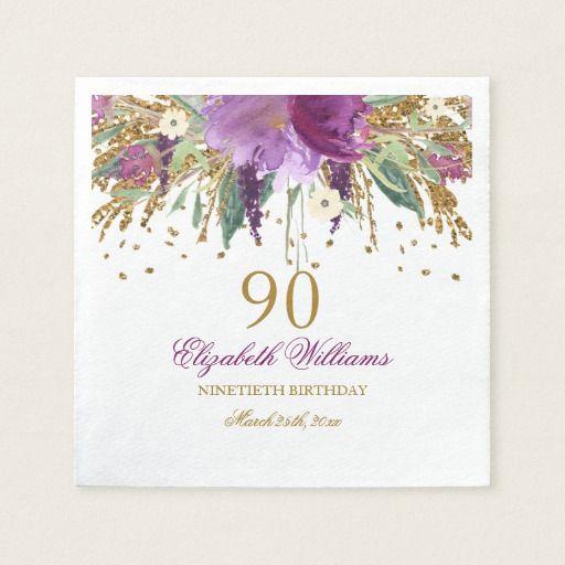 Birthday Gifts Ideas Floral Glitter Sparkling Amethyst 90th