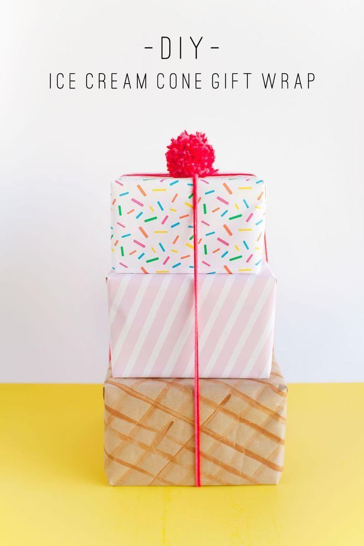 DIY Gift Wrapping Ideas : make this fun ice cream cone gift wrap ...