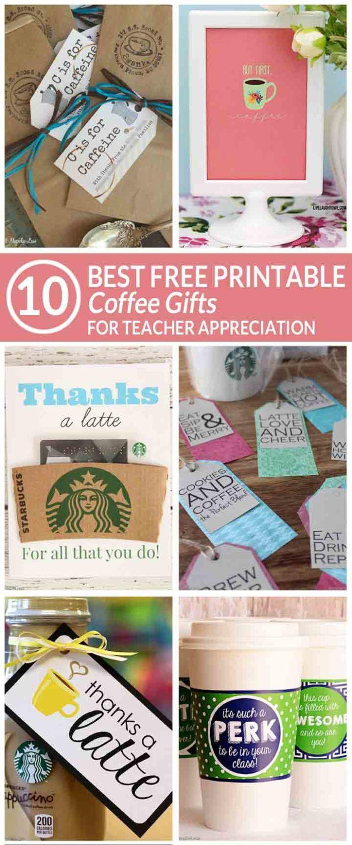 easy teacher gift | free printable coffee teacher appreciation gifts | free teac...