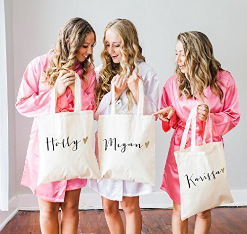 Bridesmaid Gift Ideas Personalized Glam Wedding Tote Bags For