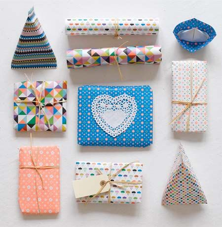 Colorful and patterned gift wrap