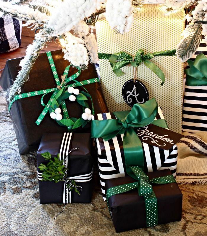 Christmas wrapping ideas black, white, green, wreaths, fresh boxwood greenery an...