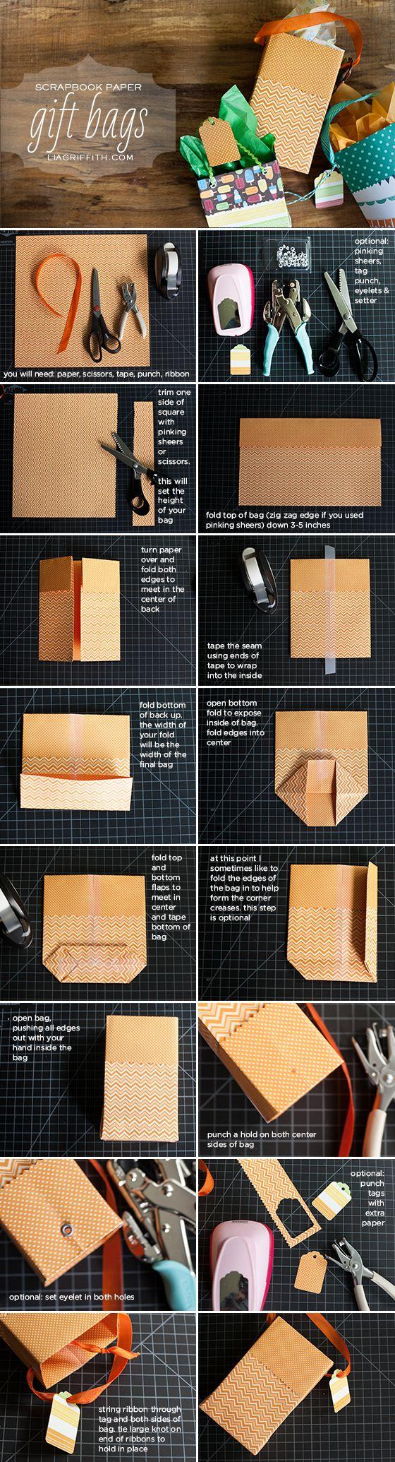 DIY Gift Bags from Scrapbook paper