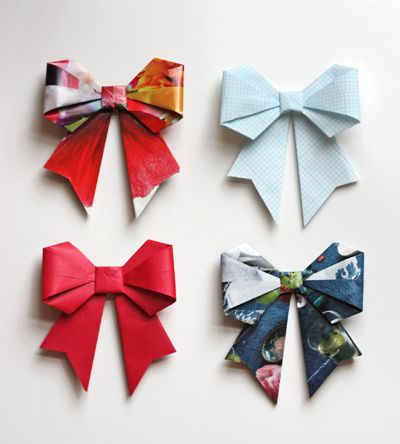 DIY origami bows out of magazine paper