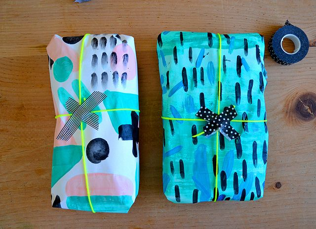 DIY painted neon Gift Wrap