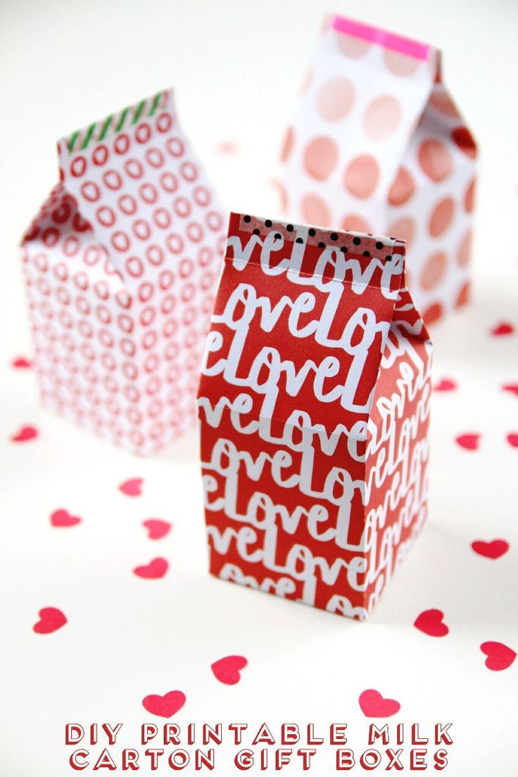Diy Printable Milk Carton Gift Boxes with free template