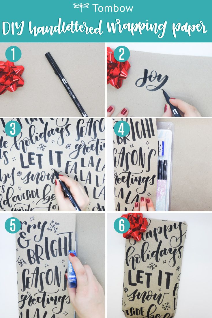 Hand-letter your basic wrapping with Tombow for on-trend gifting. 1. Gather supp...