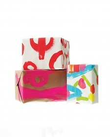 Repurpose kids' art as wrapping paper for Valentine's Day gifts.