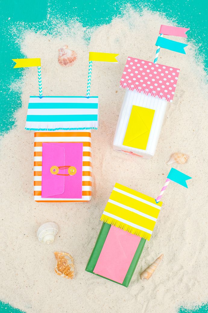 Turn tea boxes into mini beach bungalows filled with gifts for spring.