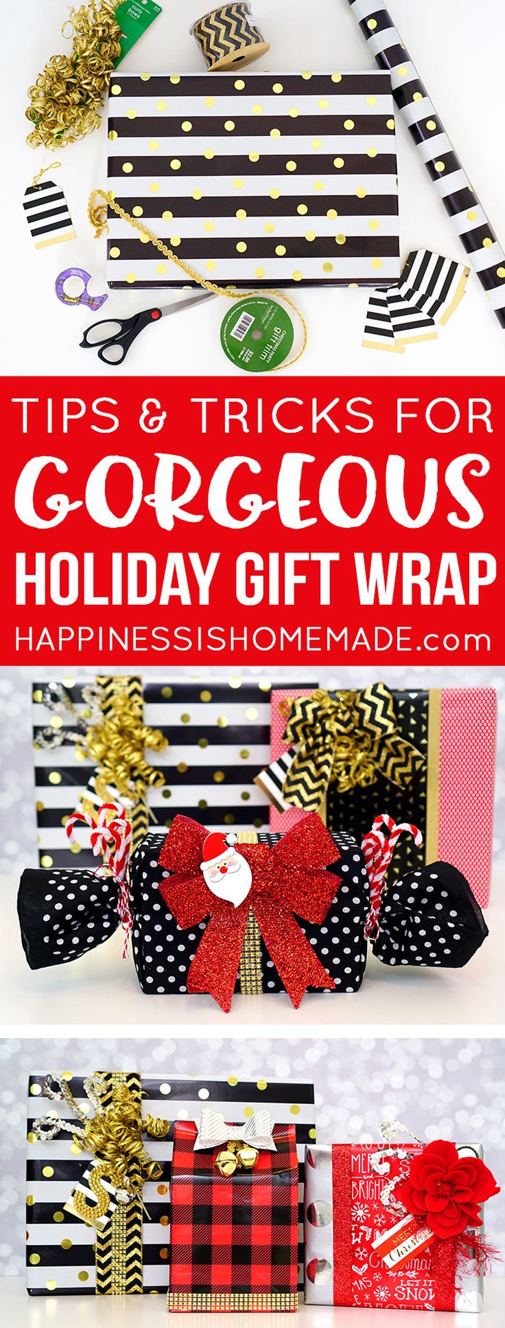 Use these handy simple tips and tricks for making your Christmas holiday gift wr...