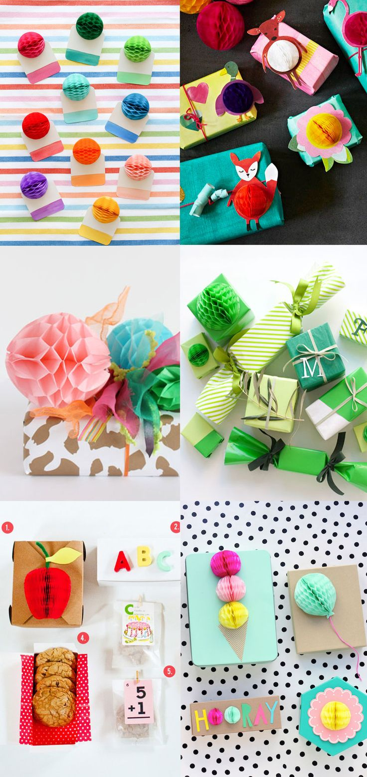 Wrapping ideas - using honeycomb balls