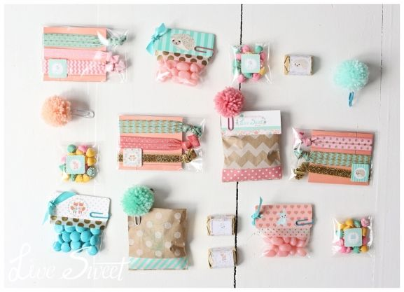 cutesy wrapping + pompom paper clips