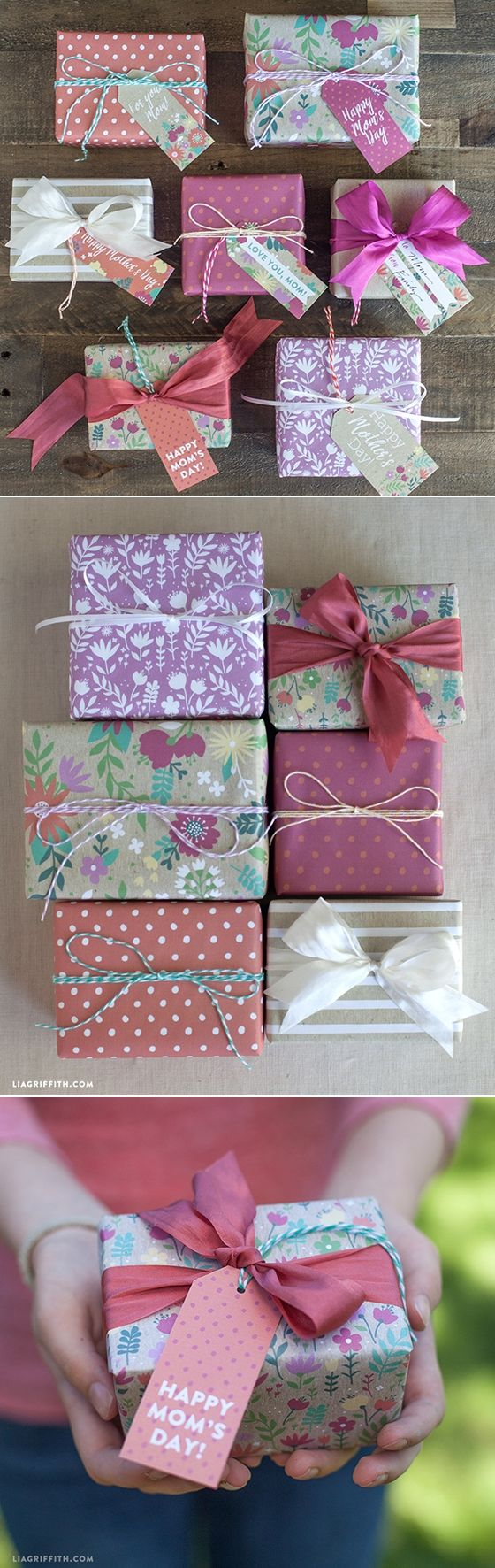 printable #giftwrap #gifttag #Mothersday at www.LiaGriffith.com