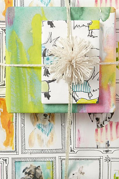 Dog wrapping paper in bright pastels. Artist lauren Carlson Walcott.