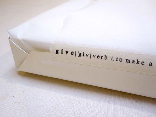 Gift wrap, Tape word 'give' verb.