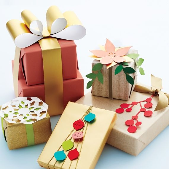 Who needs patterned gift wrap? Adorning boxed presents with winsome paper, pipe ...