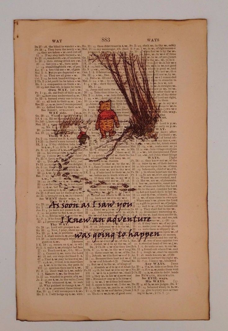Mom Birthday Gifts Winnie The Pooh Art Print On Old Antique Book