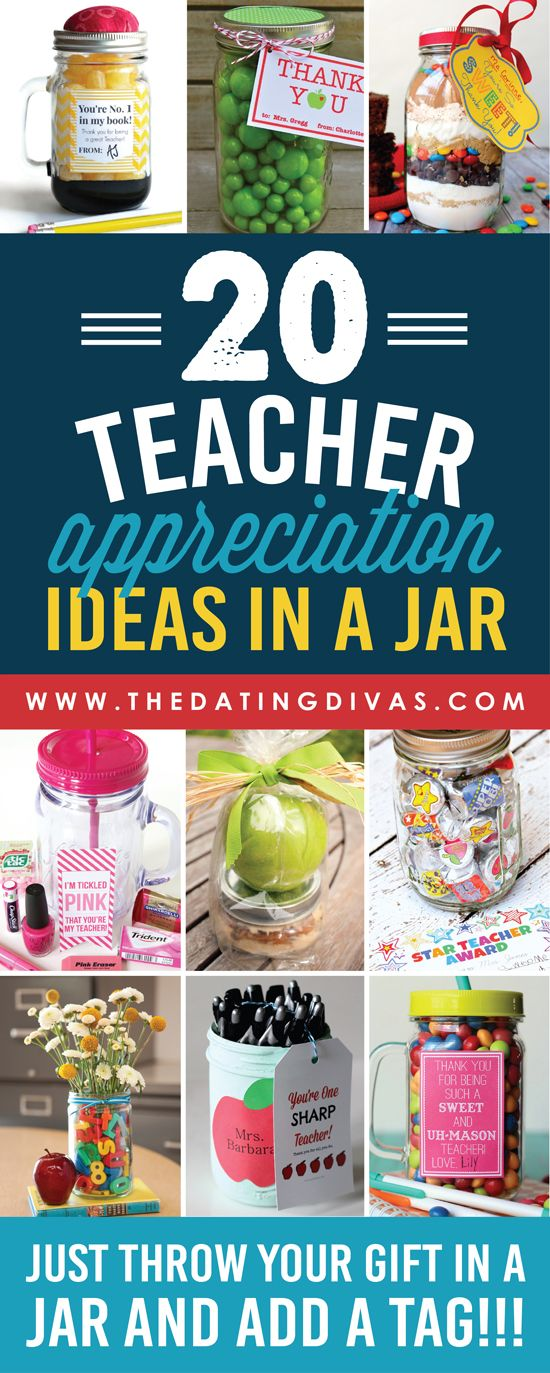Easy and CUTE teacher appreciation gifts in a jar!!! I love that most come with ...