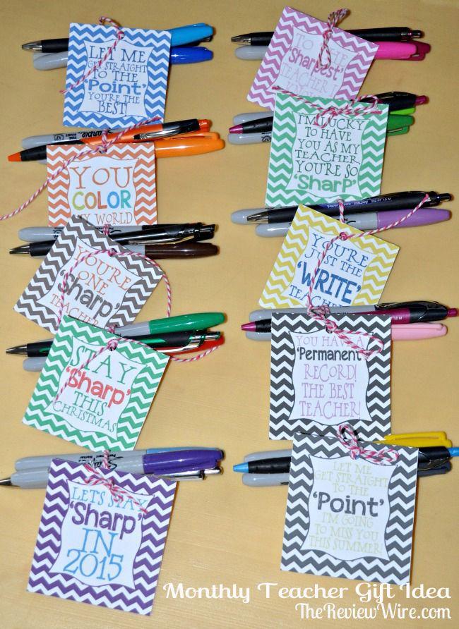 Teacher Gifts : Back To School Monthly Teacher Gift Idea using ...