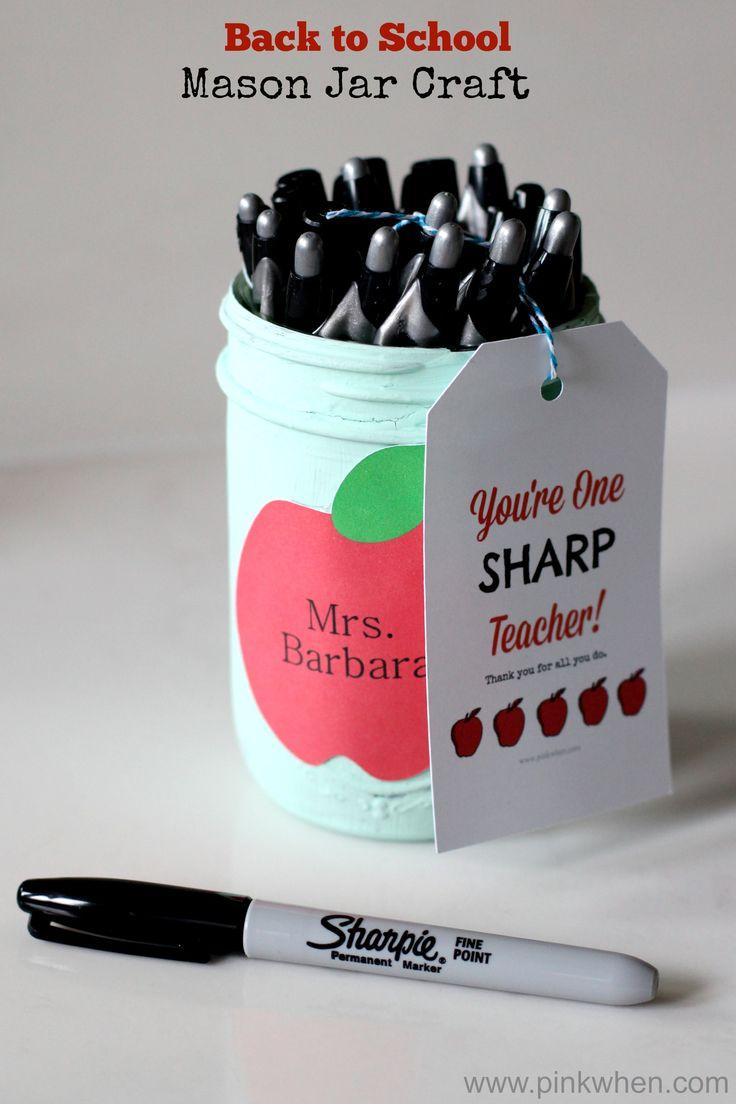 Back to School Mason Jar Craft Teacher Gift Idea #inspirestudents #teacherschang...