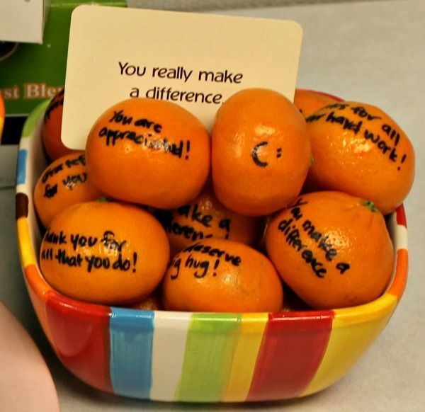 Clementines with sharpie message