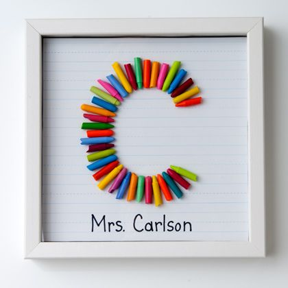Colorful Crayon Letter | Crafts | Spoonful #teacher #gift #monogram