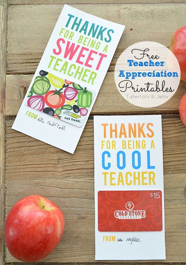 Free teacher appreciation gift card holders #teacher #gift #appreciation