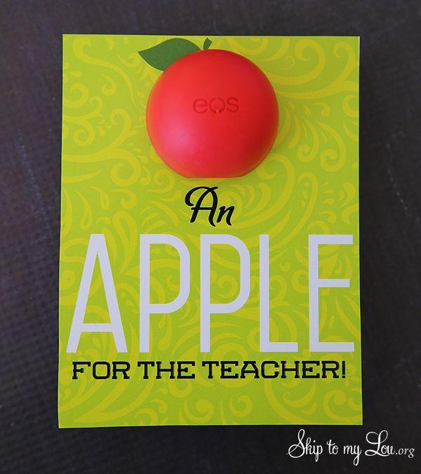 Back to school teacher gift idea: EOS Apple for the teacher free printable  #pri...