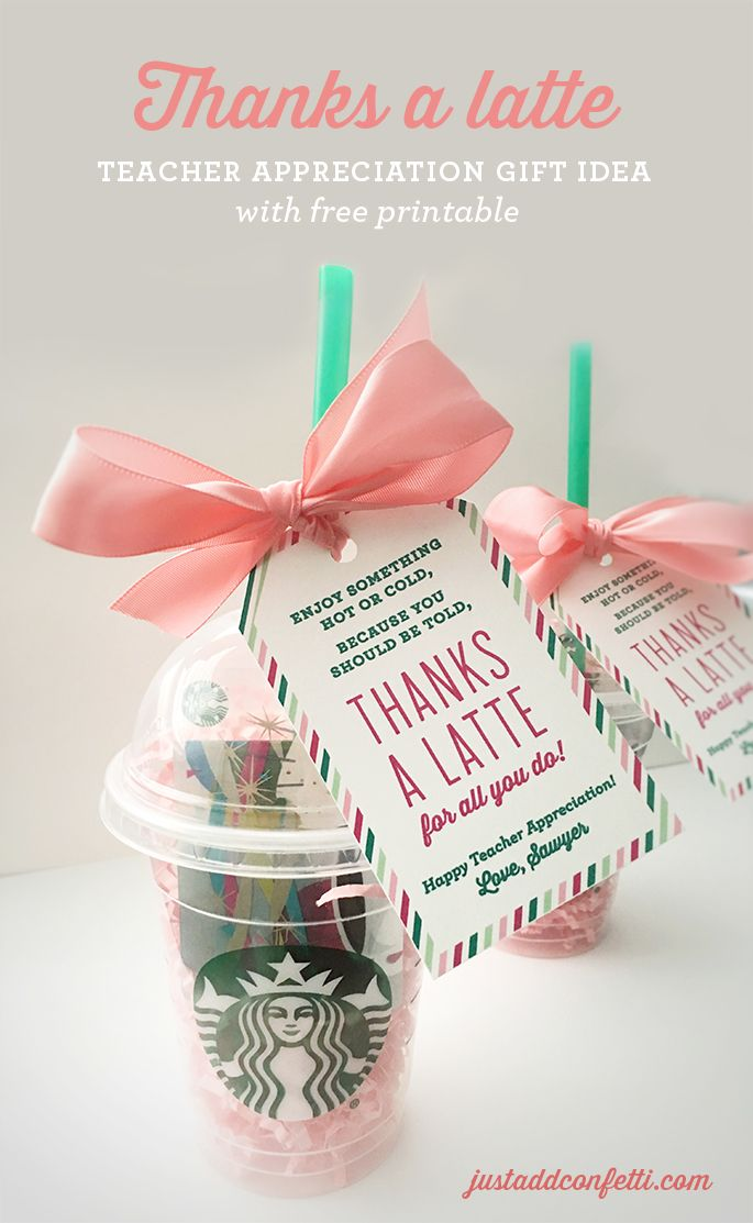 Teacher Gifts Thanks A Latte Appreciation Gift Idea With