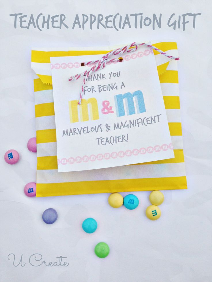 Free printable teacher appreciation note to pair with M&M's.  #teacher #apprecia...