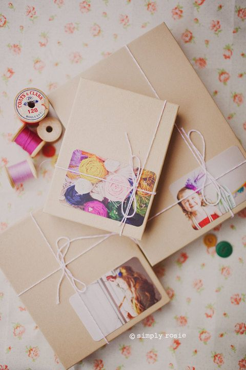 Handmade Photo gift tags.