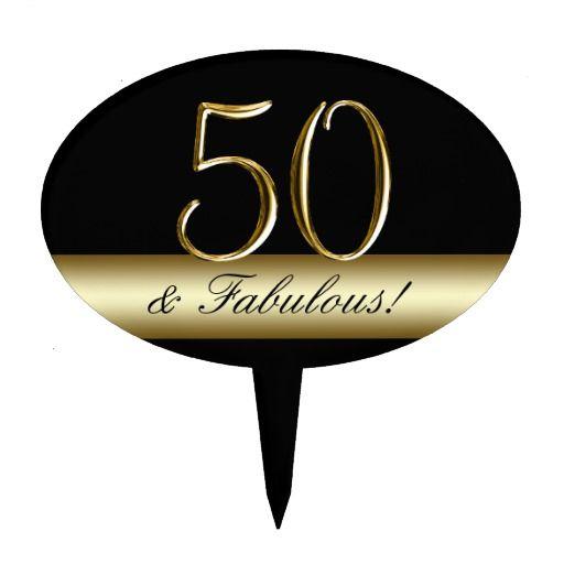 Birthday Gifts Ideas Black Metallic Gold 50th Cake Topper