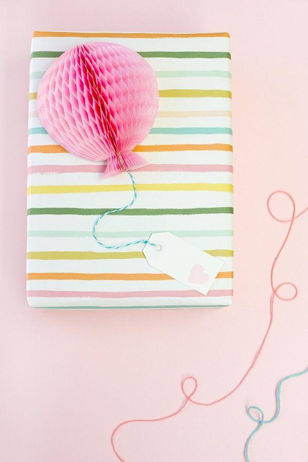 DIY Honeycomb Balloon Gift Toppers   Studio DIY®