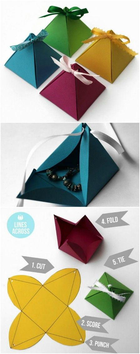 Origami pyramid gift boxes. - 40 Amazing Christmas Gift Wrapping Ideas You can M...