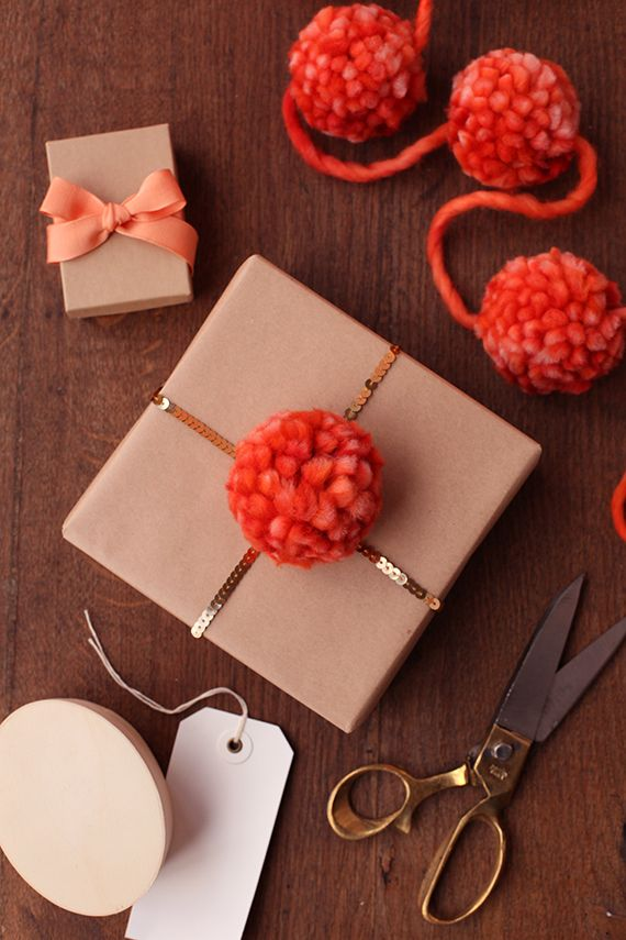 sequins & yarn to package gifts