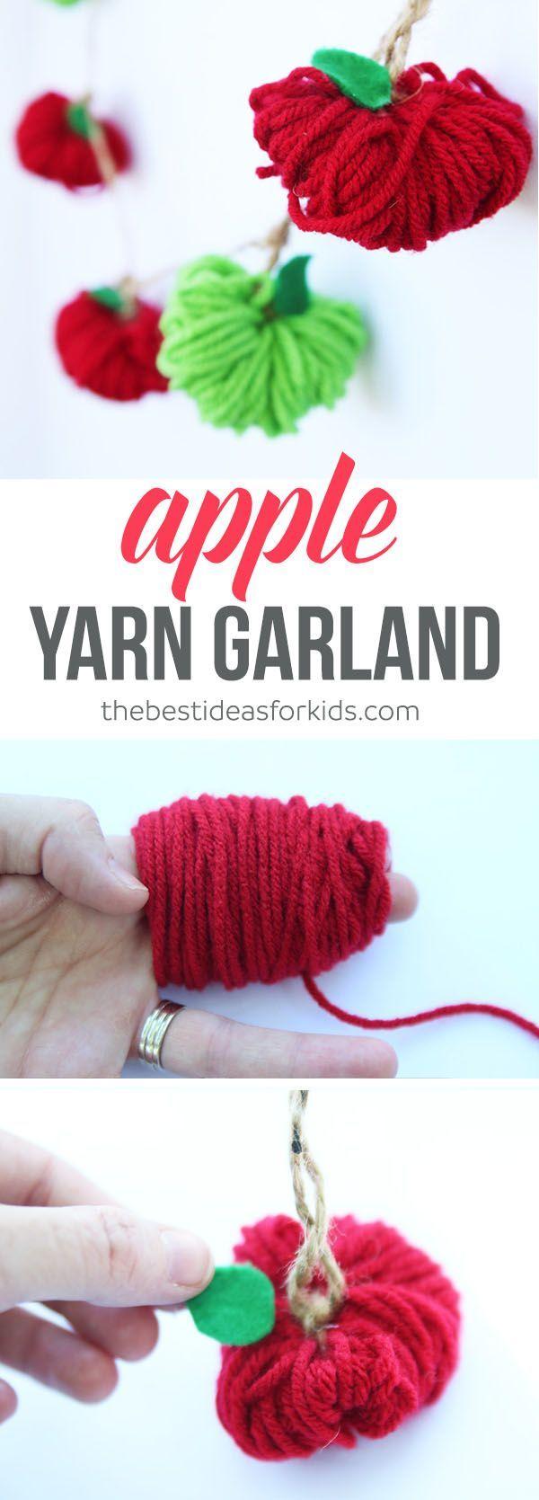 Apple garland, yarn garland, yarn craft, teacehr gift, apple craft, #school #tea...
