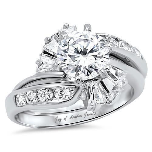 A Flawless, 2CT Round Cut Russian Lab Diamond Bridal Set