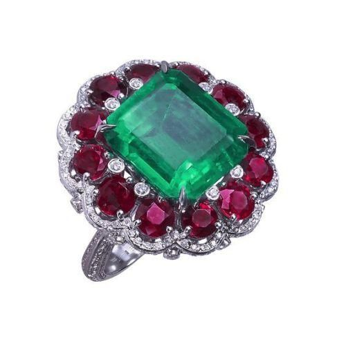 12.9K Emerald Cut Emerald & Red Ruby Ring