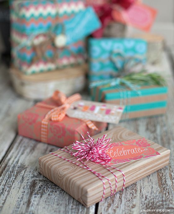 Creative Gift Wrapping by Lia Griffith (free printable tags + gift wrap)