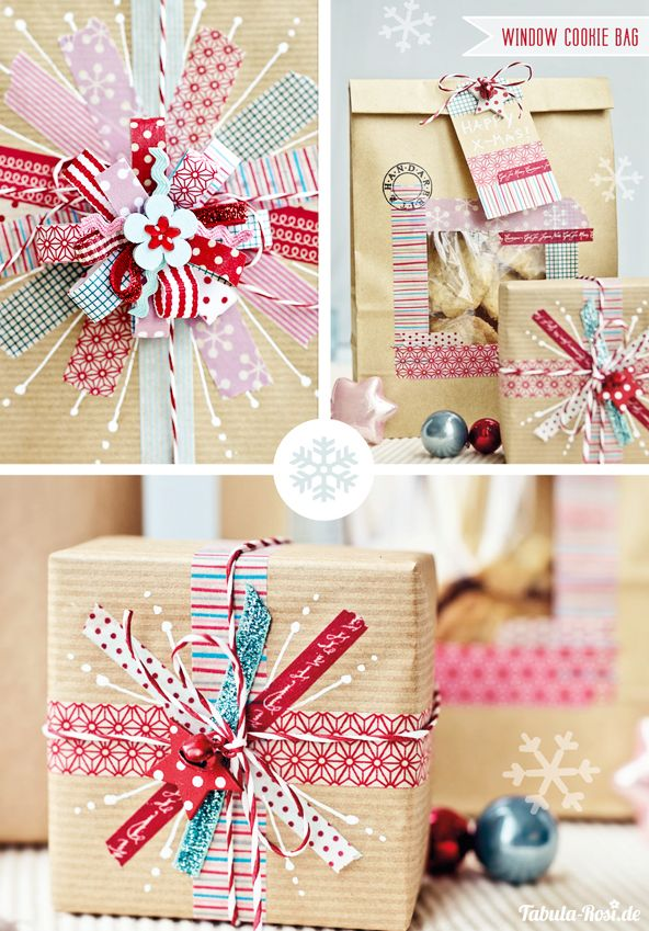 DIY gift wrapping with washi tape and kraft paper #diy #wrapping #maskingTape #w...