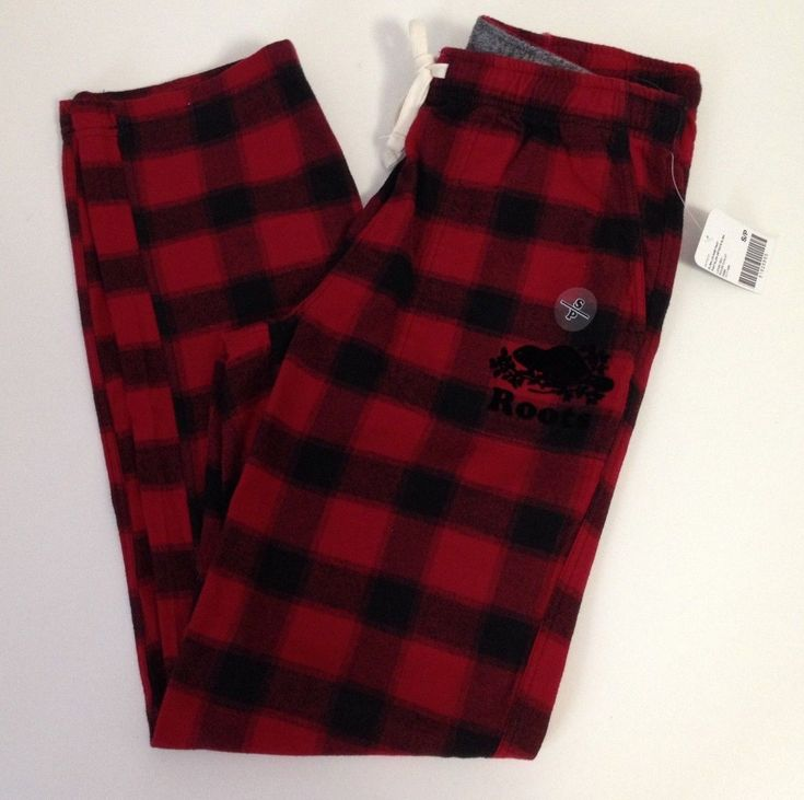 ROOTS CANADA Women's Elisa Lounge Pants Soft Flannel Red Chalet Plaid Small New ...