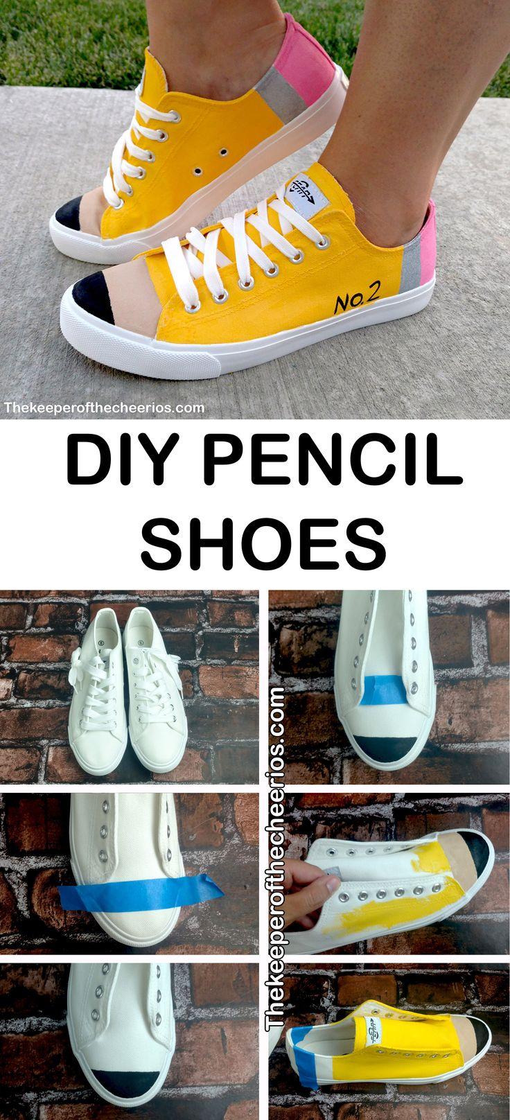 DIY Pencil Shoes, back to school shoes, teacher shoes, painted shoes